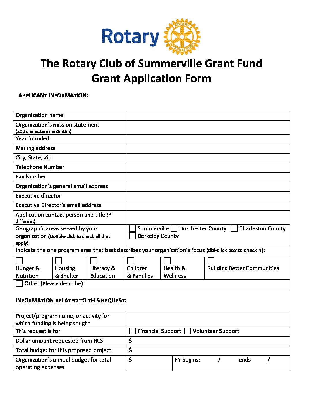 grant fund application